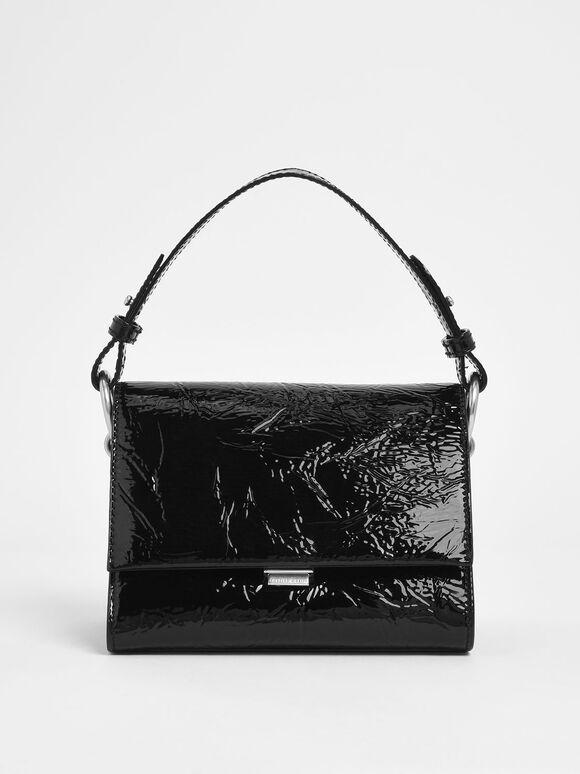 Wrinkled Patent Push Lock Handbag, Black Textured, hi-res