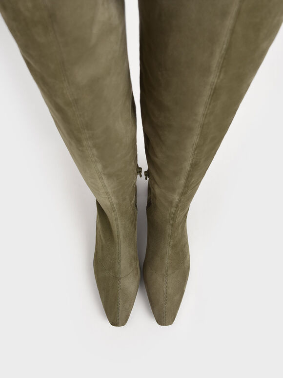 Thigh High Blade Heel Boots, Olive, hi-res