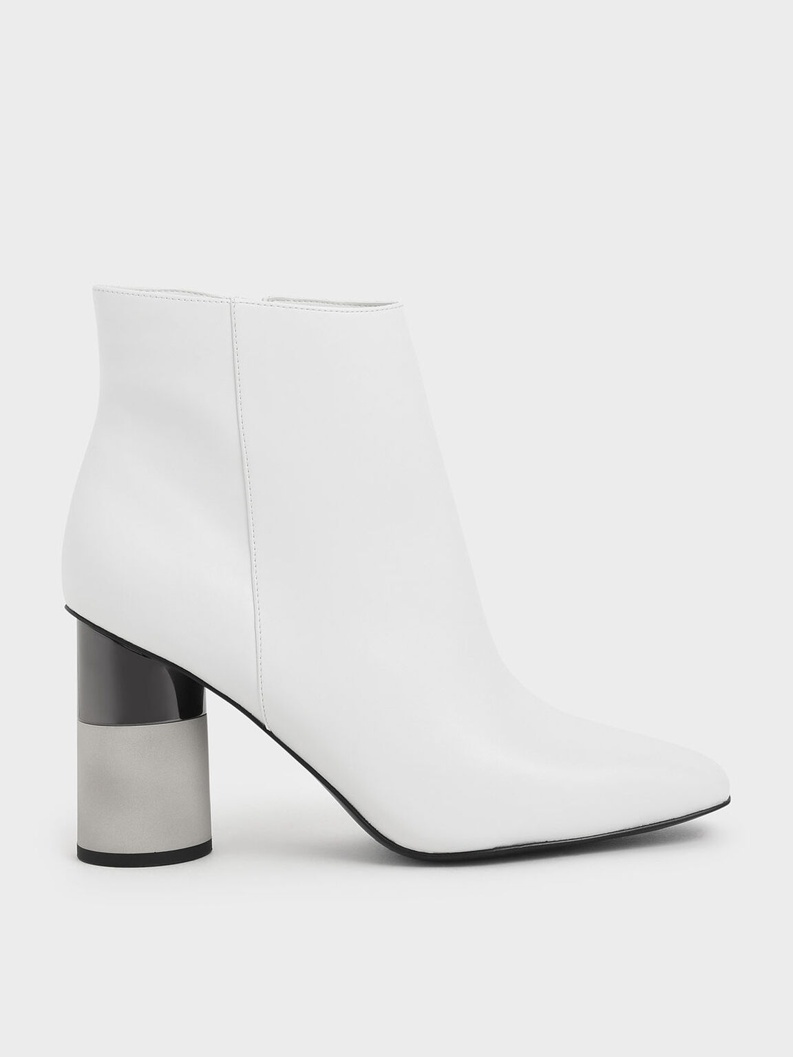 Concrete Heel Ankle Boots, White, hi-res