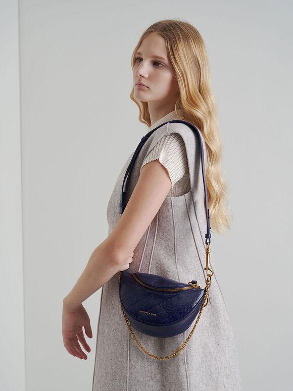Half Moon Crossbody Bag, Dark Blue, hi-res