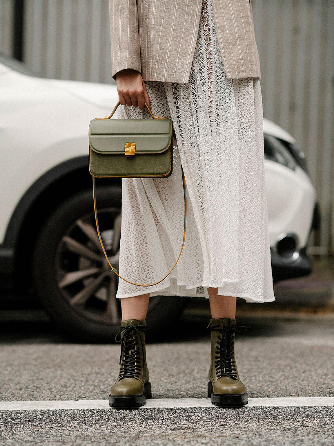 Lace Up Combat Boots, Olive, hi-res