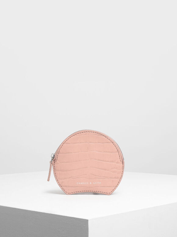 Semi Circle Croc-Effect Mini Pouch, Pink, hi-res