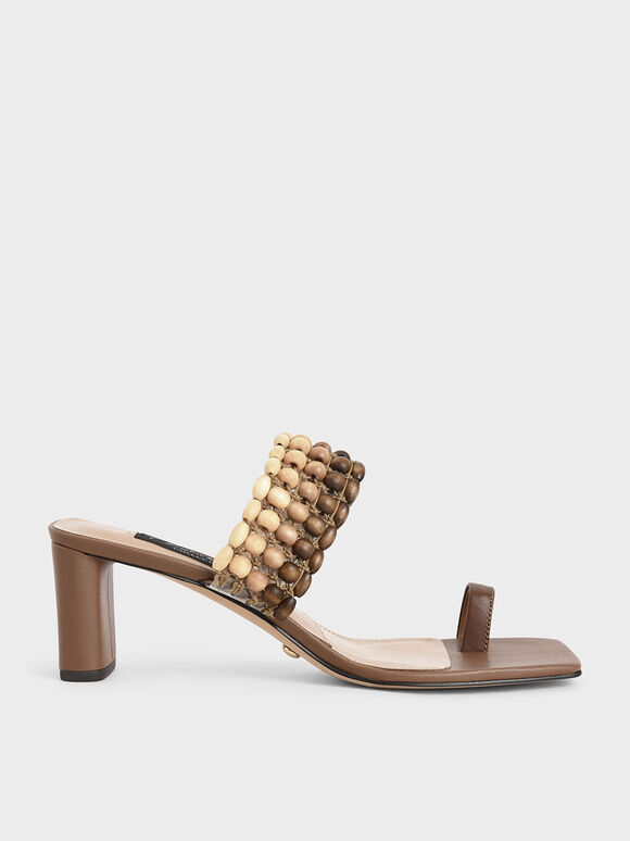 Leather Beaded Heeled Sandals, Brown, hi-res