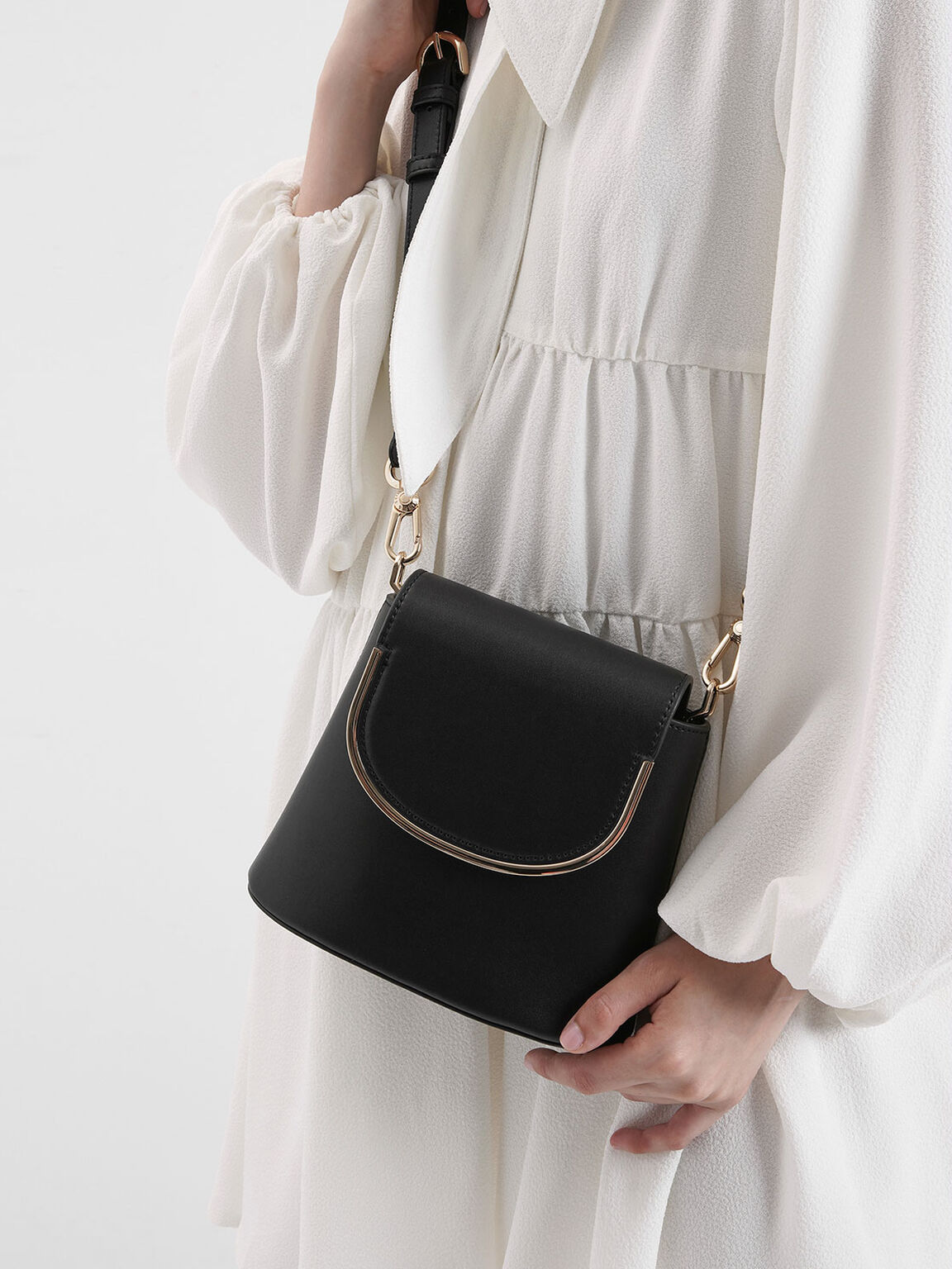 Metal Accent Leather Bucket Bag, Black, hi-res