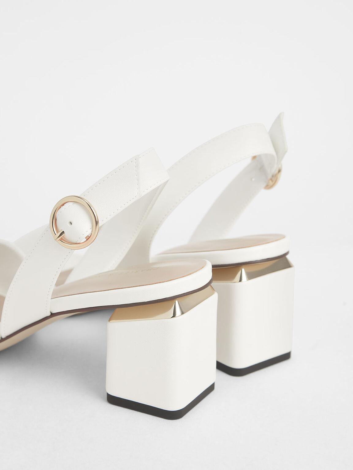 Slingback Block Heels, White, hi-res