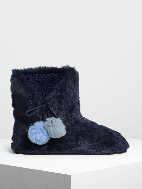 Furry Pom Pom Boots, Dark Blue, hi-res