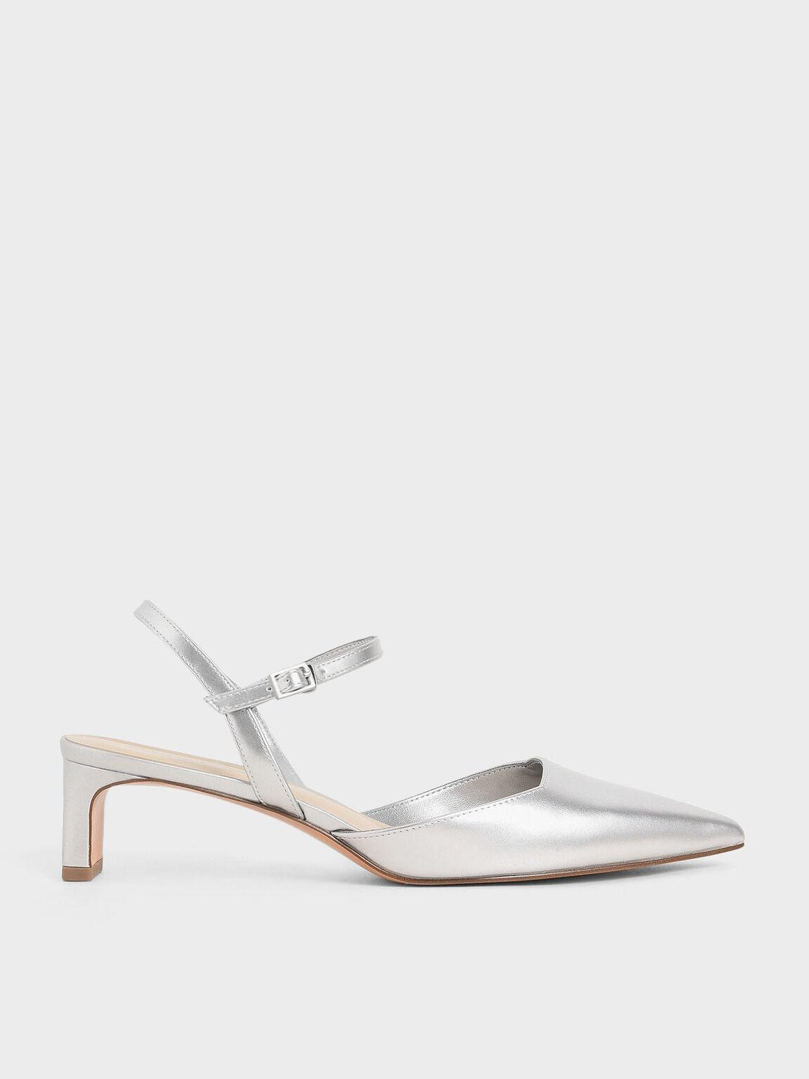 Metallic Ankle Strap Pumps, Silver, hi-res