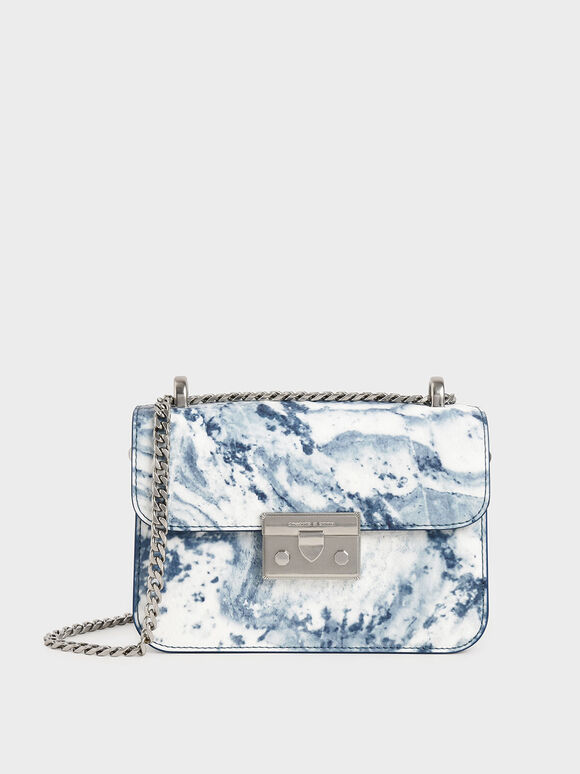 Printed Push-Lock Crossbody Bag, Multi, hi-res