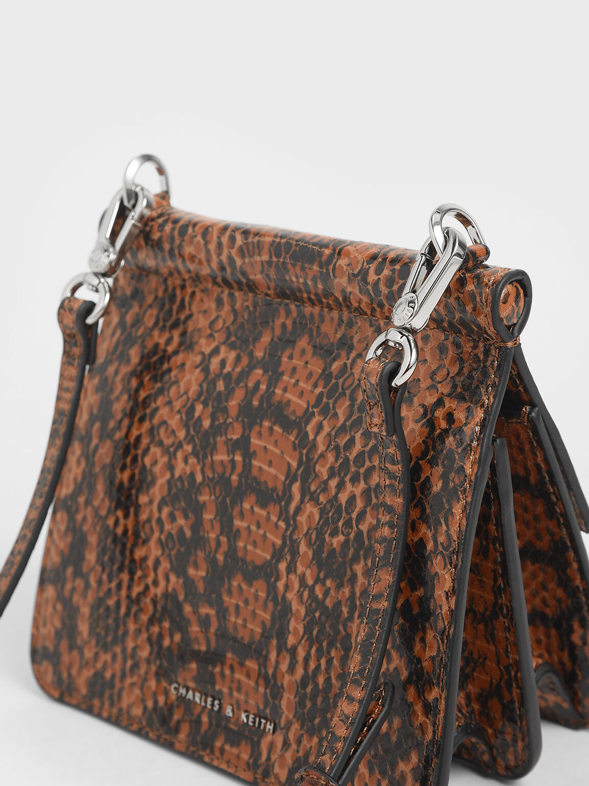 Small Snake Print Acrylic Top Handle Bag, Tan, hi-res
