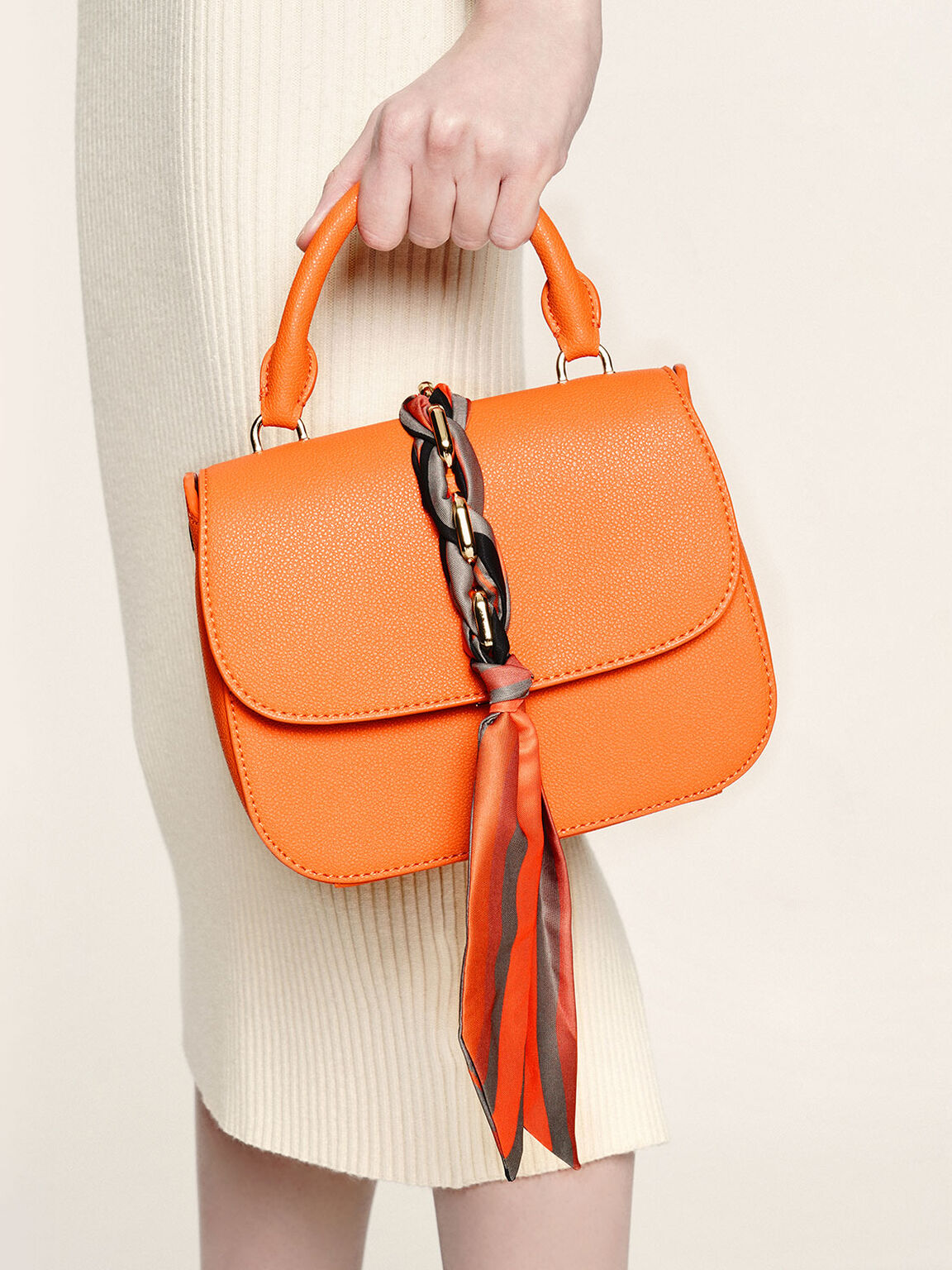 Braided Front Flap Bag, Orange, hi-res