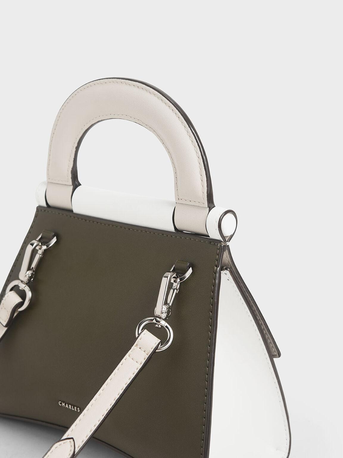 Two-Tone Top Handle Bag, White, hi-res