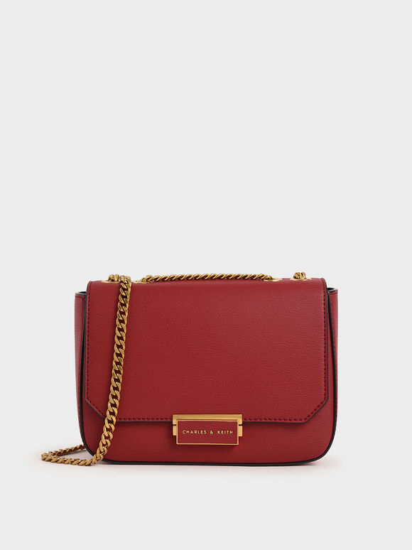Double Chain Link Crossbody Bag, Red, hi-res