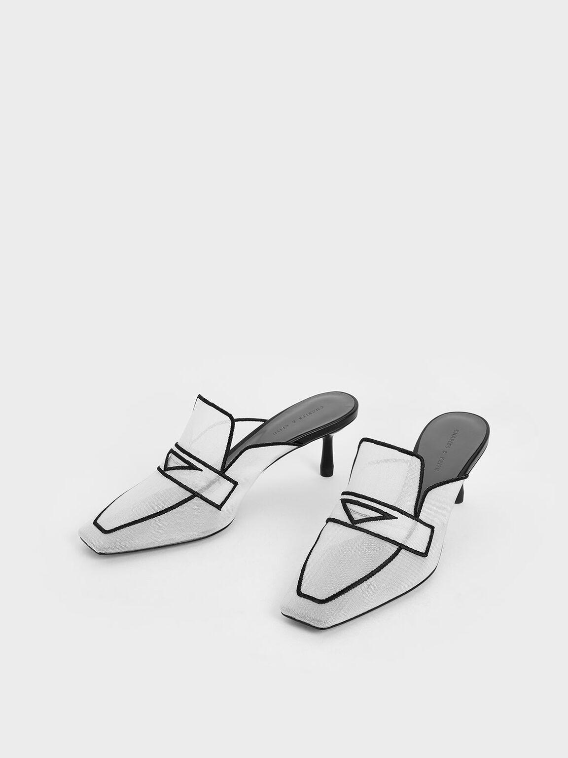 Mesh Loafer Mules, White, hi-res