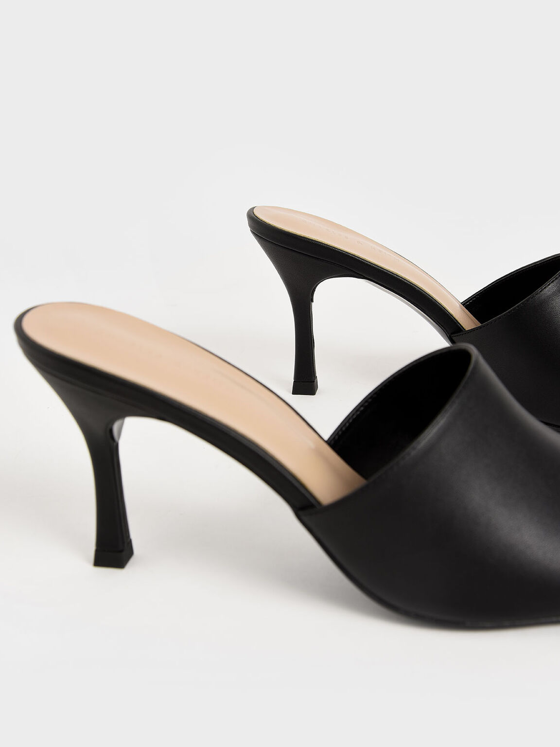 Square Toe Mules, Black, hi-res
