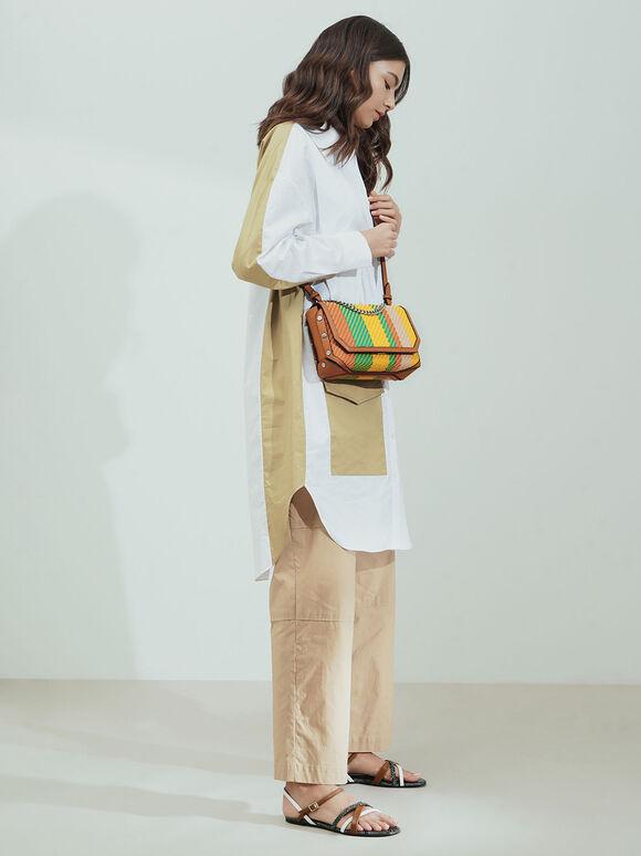 Printed Chain Link Shoulder Bag, Multi, hi-res