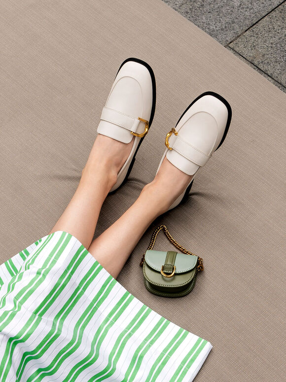 Gabine Buckled Leather Loafers, Chalk, hi-res