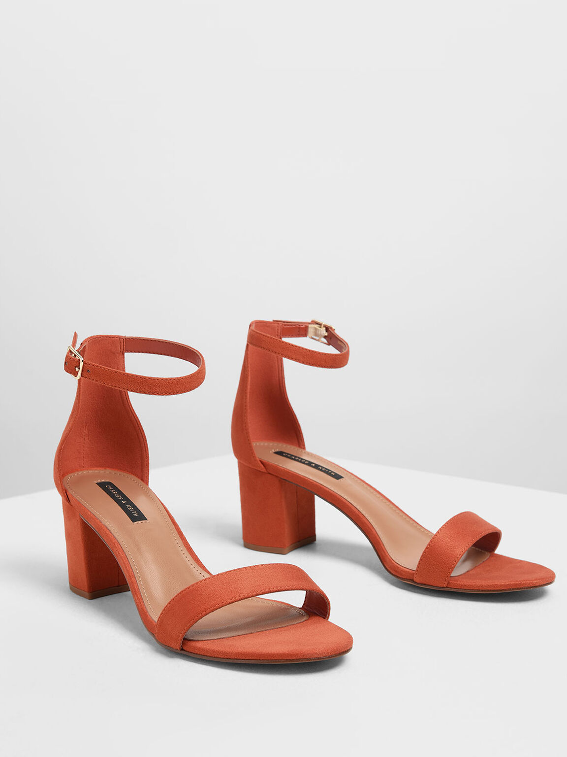 Block Heel Ankle Strap Sandals, Brick, hi-res