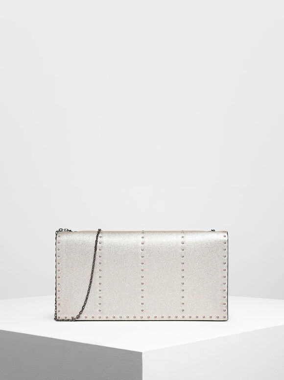Gem Encrusted Clutch, Silver, hi-res