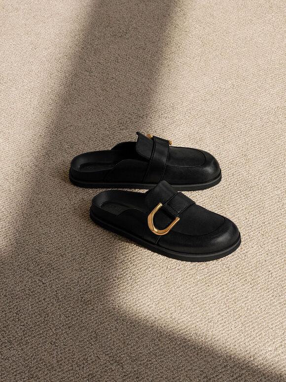 Gabine Buckled Leather Loafer Mules, Black, hi-res