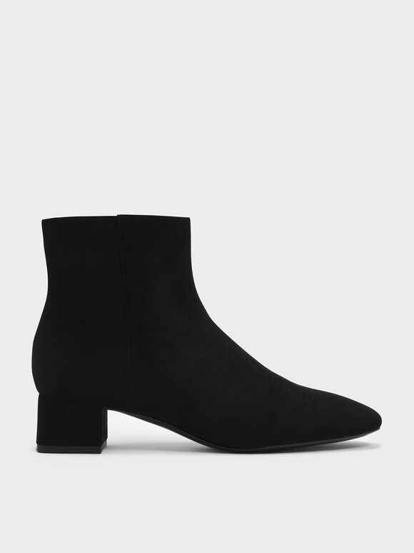 Textured Block Heel Ankle Boots, Black, hi-res