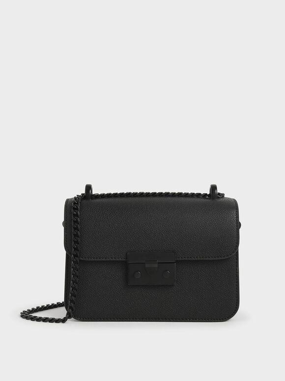 Classic Push-Lock Crossbody Bag, Ultra-Matte Black, hi-res