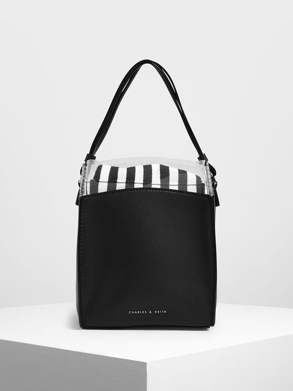 Black and White Stripe Bucket Bag, Black Textured, hi-res