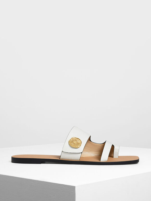 Gold Stud Detail Slide Sandals, Chalk, hi-res