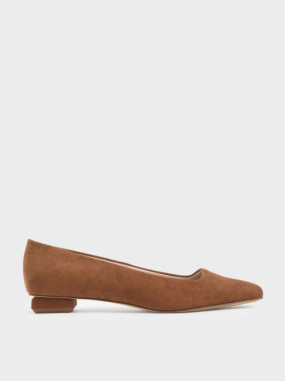 Textured Square Toe Ballerina Flats, Beige, hi-res