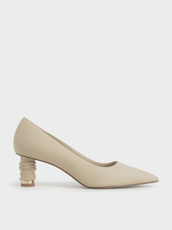 Cylindrical Heel Pointed Toe Court Shoes, Taupe, hi-res
