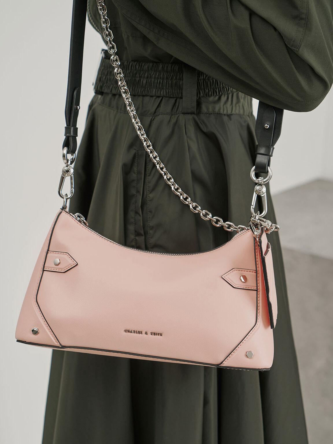 Chain Handle Bag, Pink, hi-res