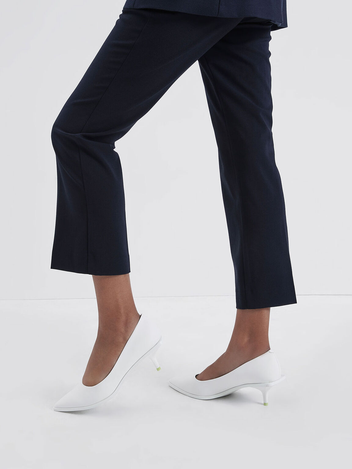Pointed Toe Mini Heel Pumps, White, hi-res
