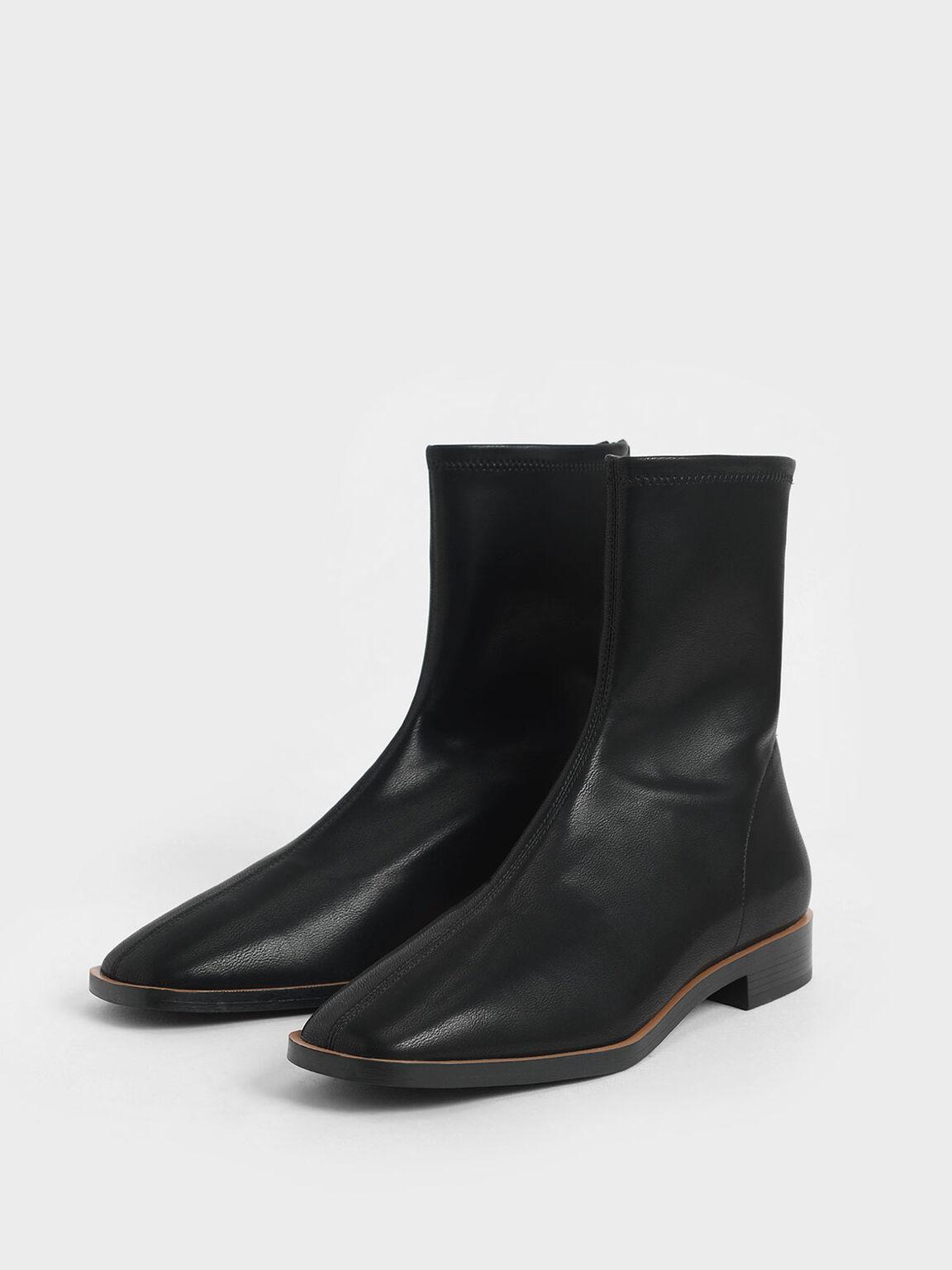 Zip Ankle Boots, Black, hi-res
