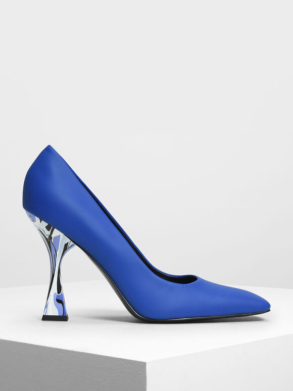 Square Toe Geometric Heel Pumps, Blue, hi-res