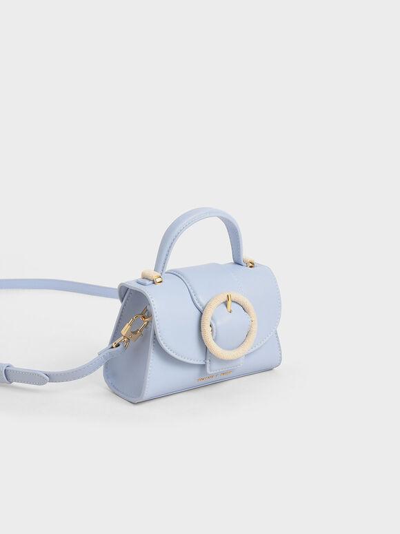 Woven Buckle Mini Bag, Light Blue, hi-res