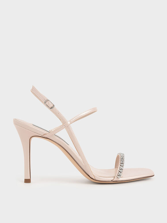 Gem-Embellished Strappy Sandals, Nude, hi-res