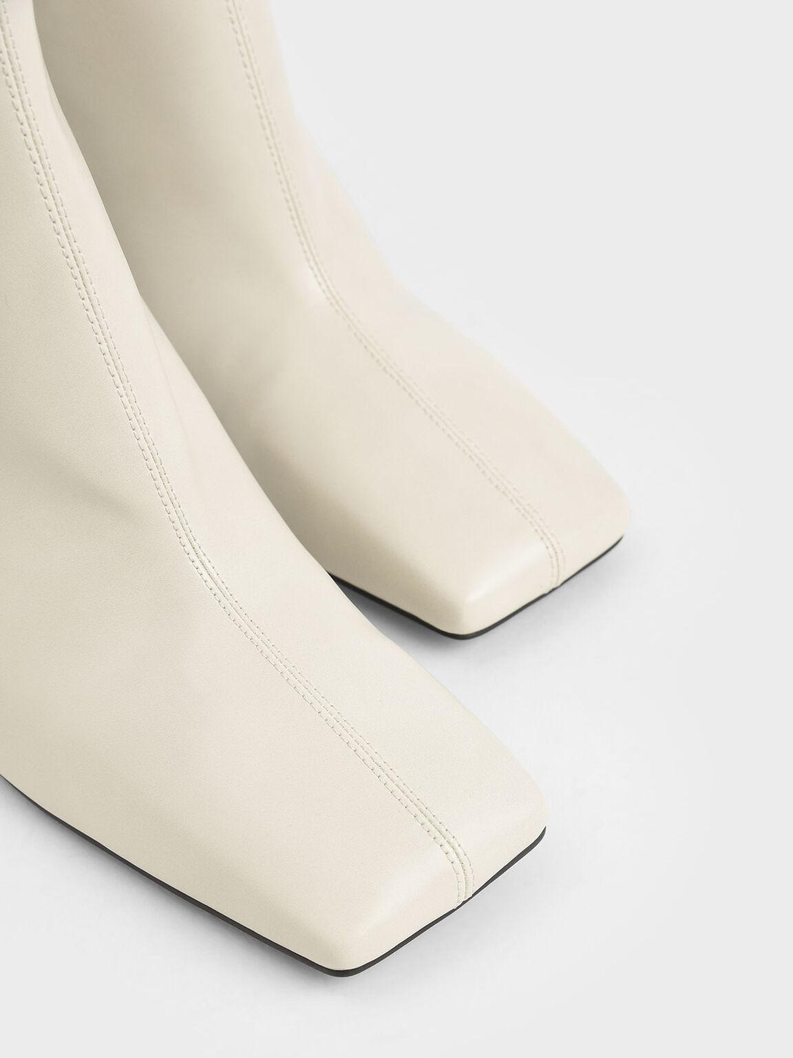 Blade Heel Ankle Boots, Chalk, hi-res