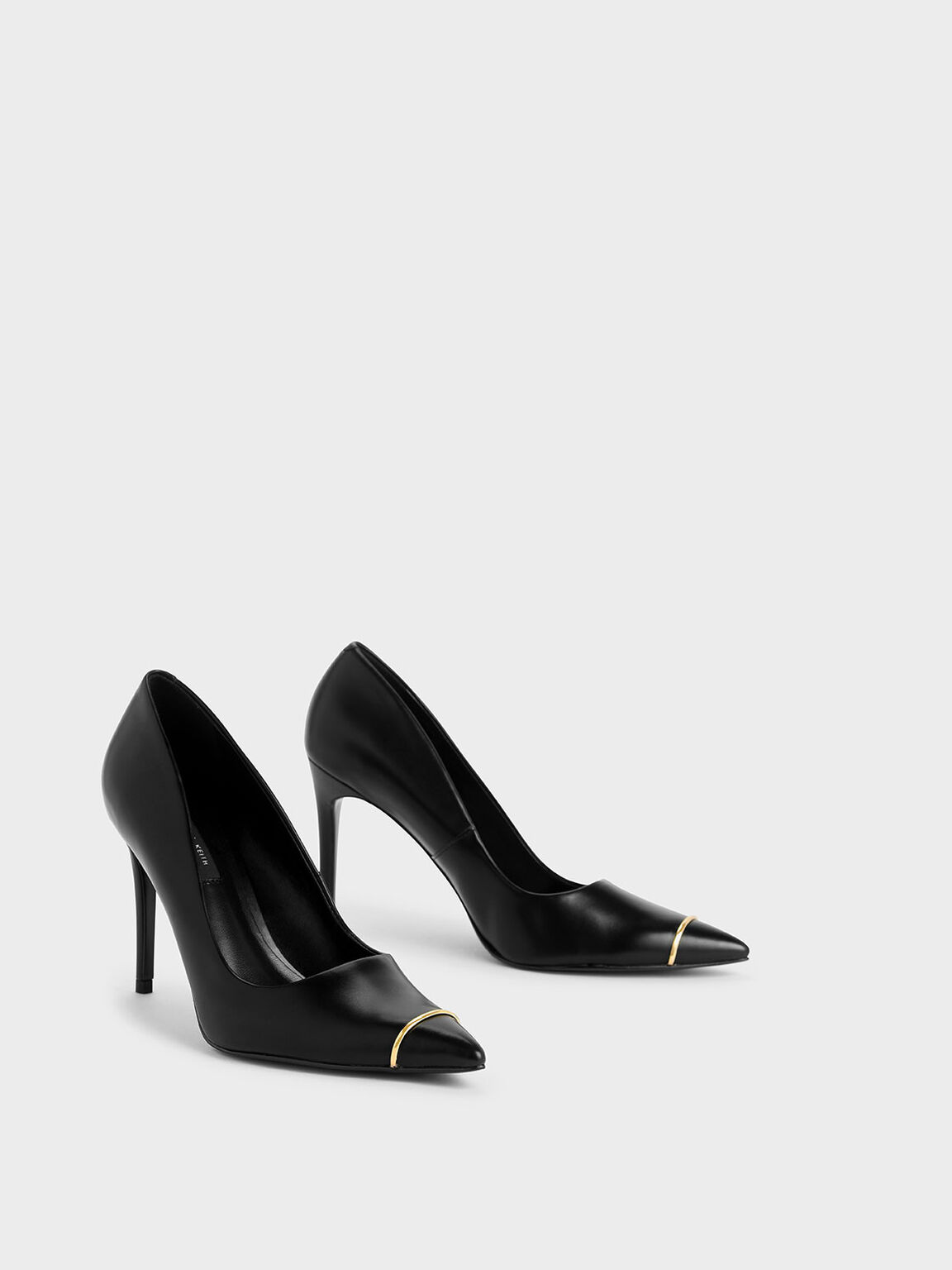 Metallic Accent Pointed Toe Stiletto Pumps, Black, hi-res