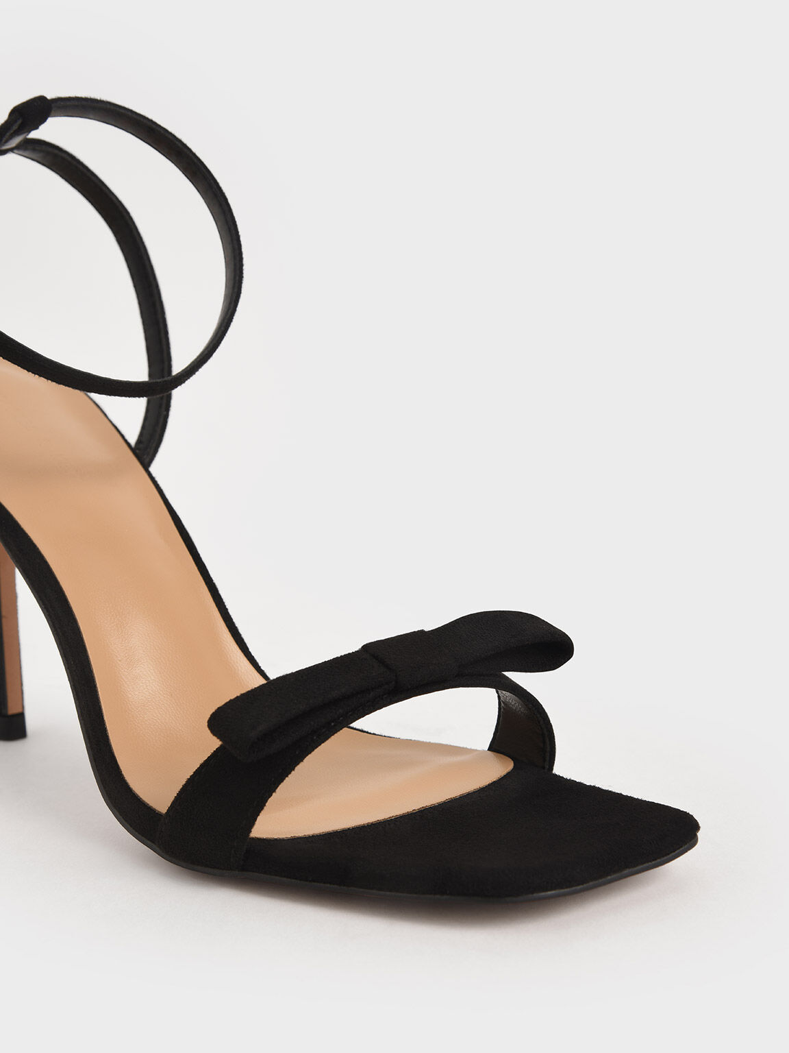 Textured Bow Ankle Strap Sandals, Black, hi-res