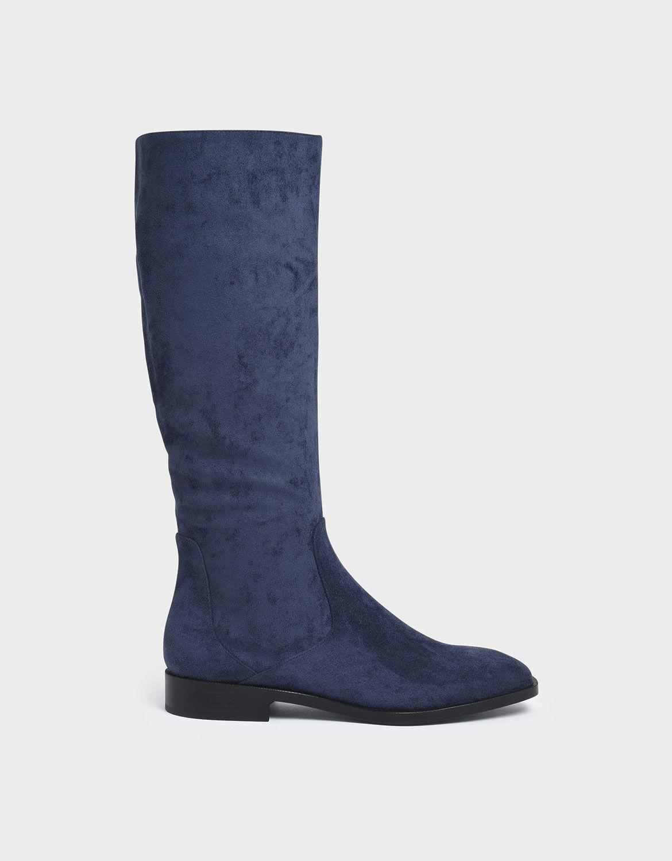 Blue Textured Zip-Up Knee High Flat
