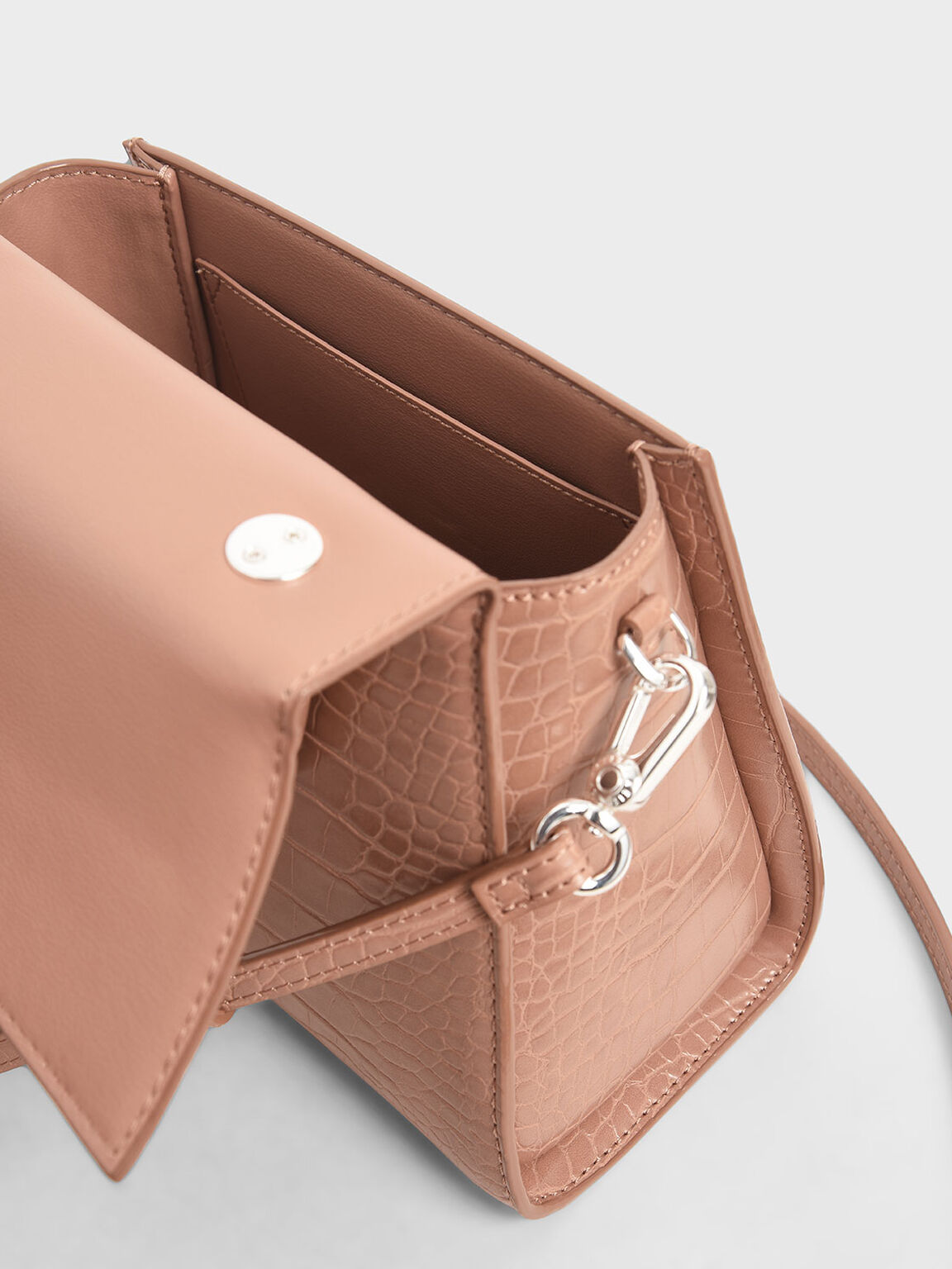 Croc-Effect Structured Bag, Blush, hi-res