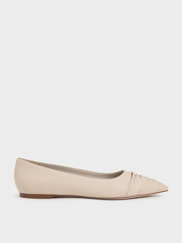 Ruched Ballet Pumps, Taupe, hi-res