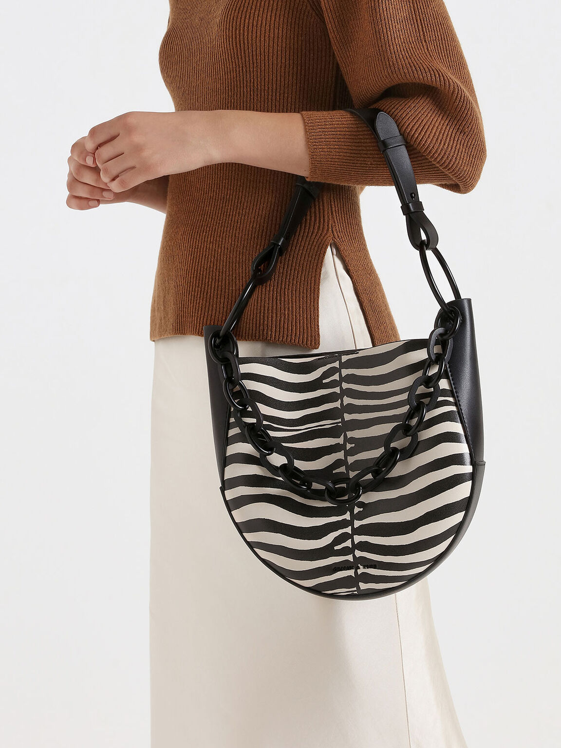 Zebra Print Chunky Chain Link Hobo Bag, Multi, hi-res