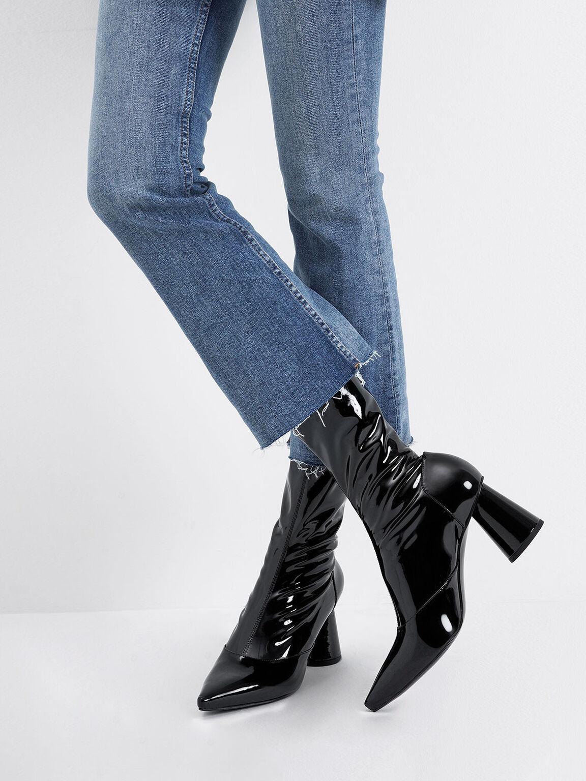 Patent Cylindrical Heel Calf Boots, Black, hi-res