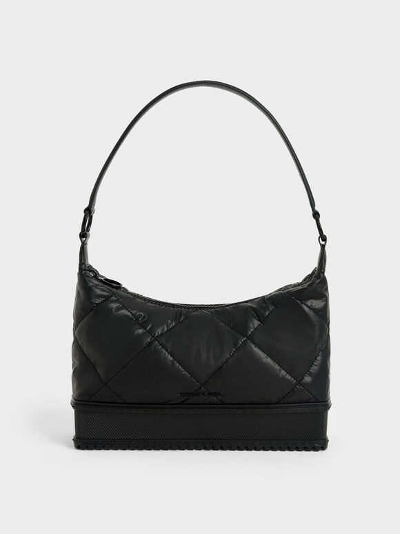 Puffy Shoulder Bag, Black, hi-res