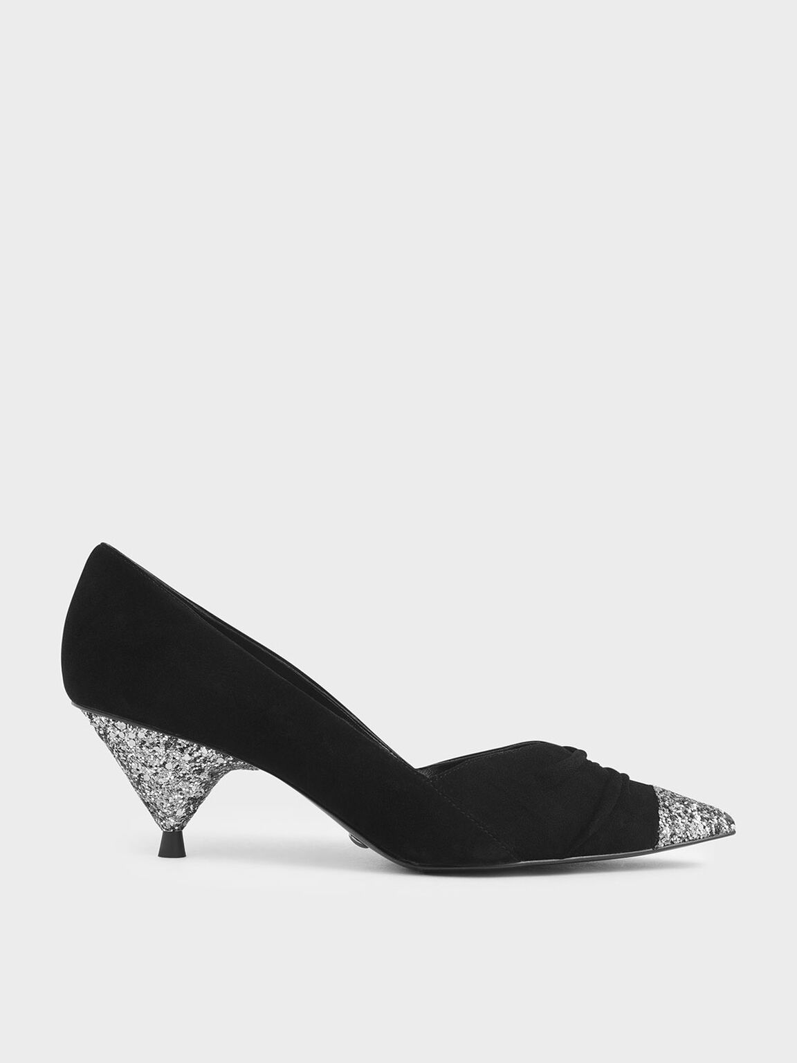 Glitter Cone Heel Pumps (Kid Suede), Black, hi-res