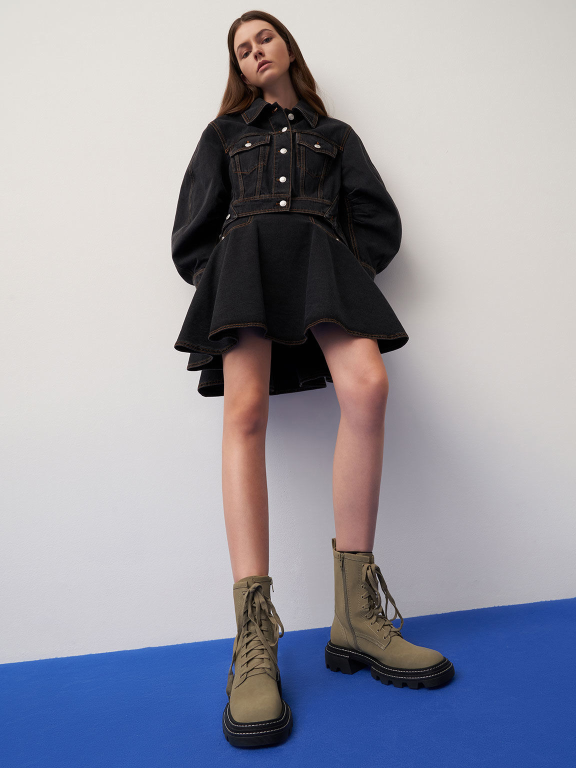 Lace-Up Chunky Ankle Boots, Olive, hi-res