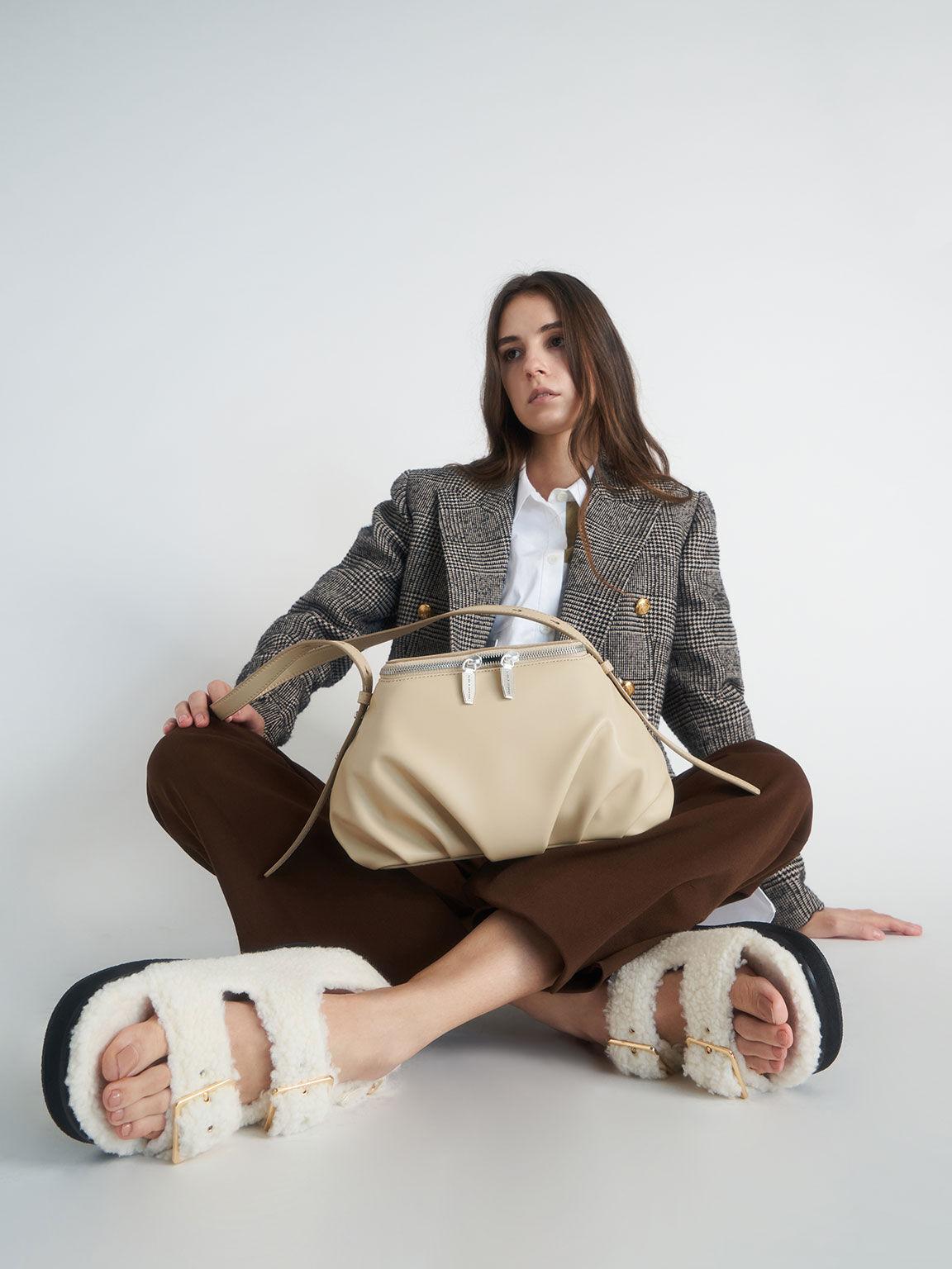 Recycled PET - Furry Platform Sandals, Chalk, hi-res