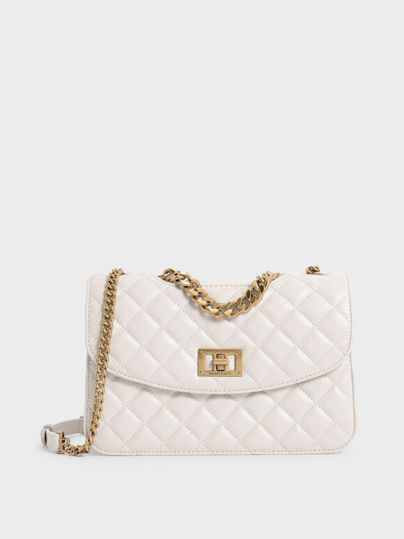Quilted Clutch, Ivory, hi-res