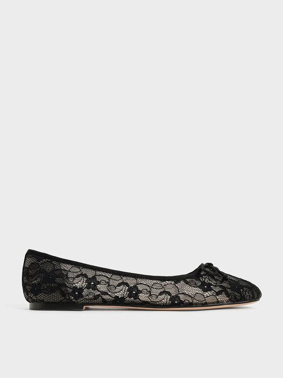 Bow-Tie Lace Ballerina Flats, Black, hi-res