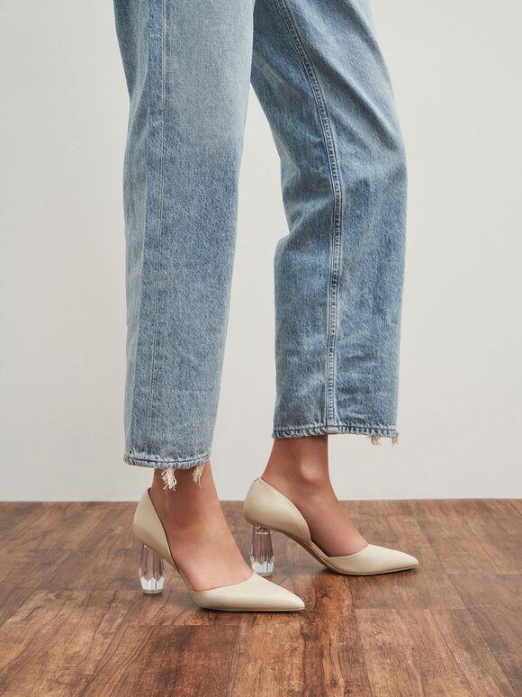 Geometric Heel D'Orsay Court Shoes, Chalk, hi-res